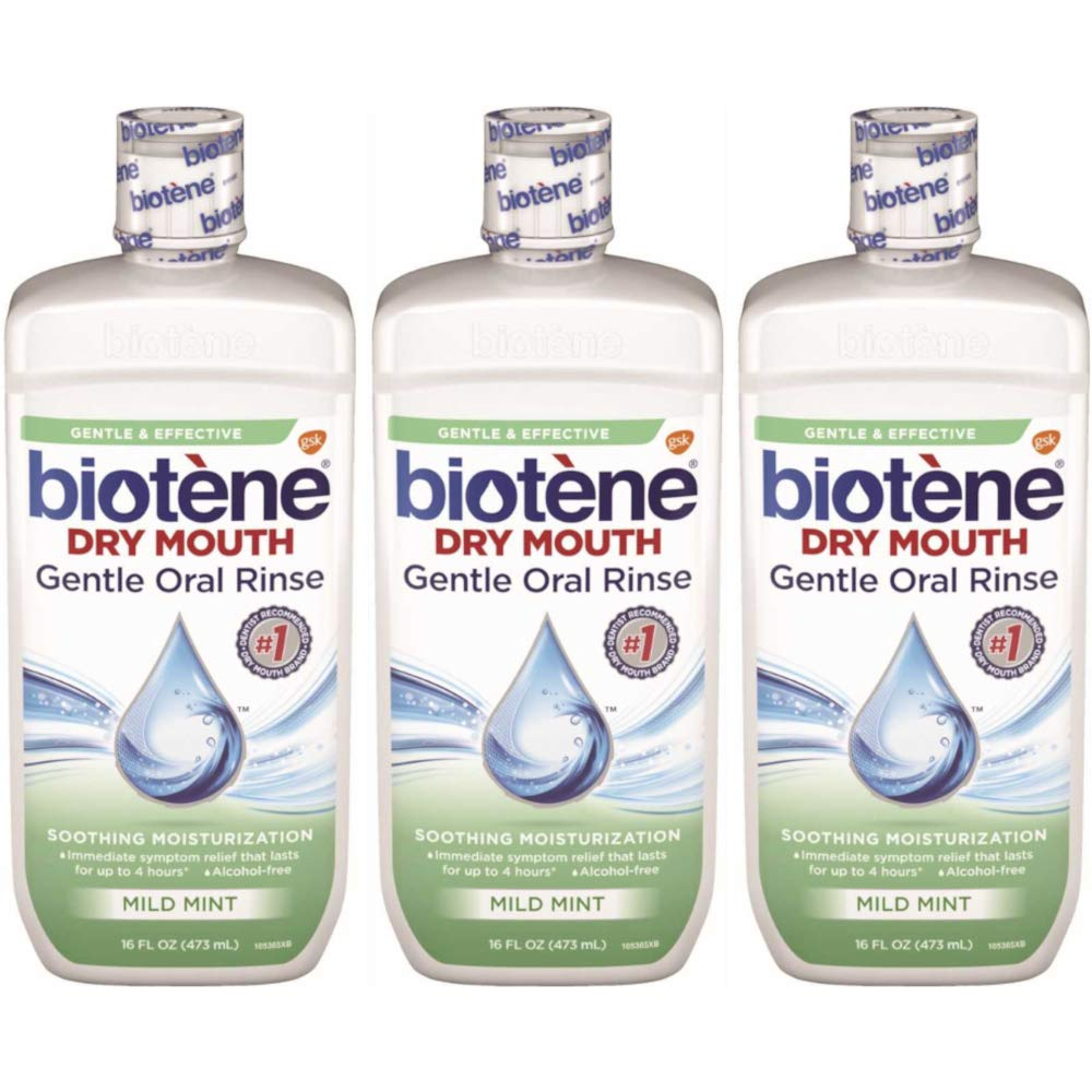Biotene Dry Mouth Gentle Oral Rinse, Mild Mint, 16 Ounces each (Value Pack of 3)