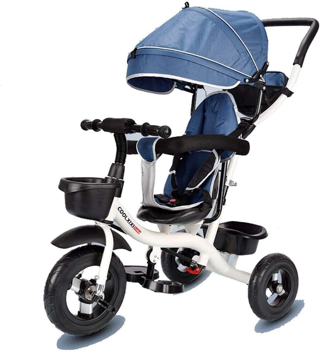LLSZ Triciclo niños Triciclo 4 en 1 de 3 Ruedas Trike Bici del bebé del niño de la Bici del bebé Walker con asa de Empuje, Azul (Color : Blue, Size : OneSize)