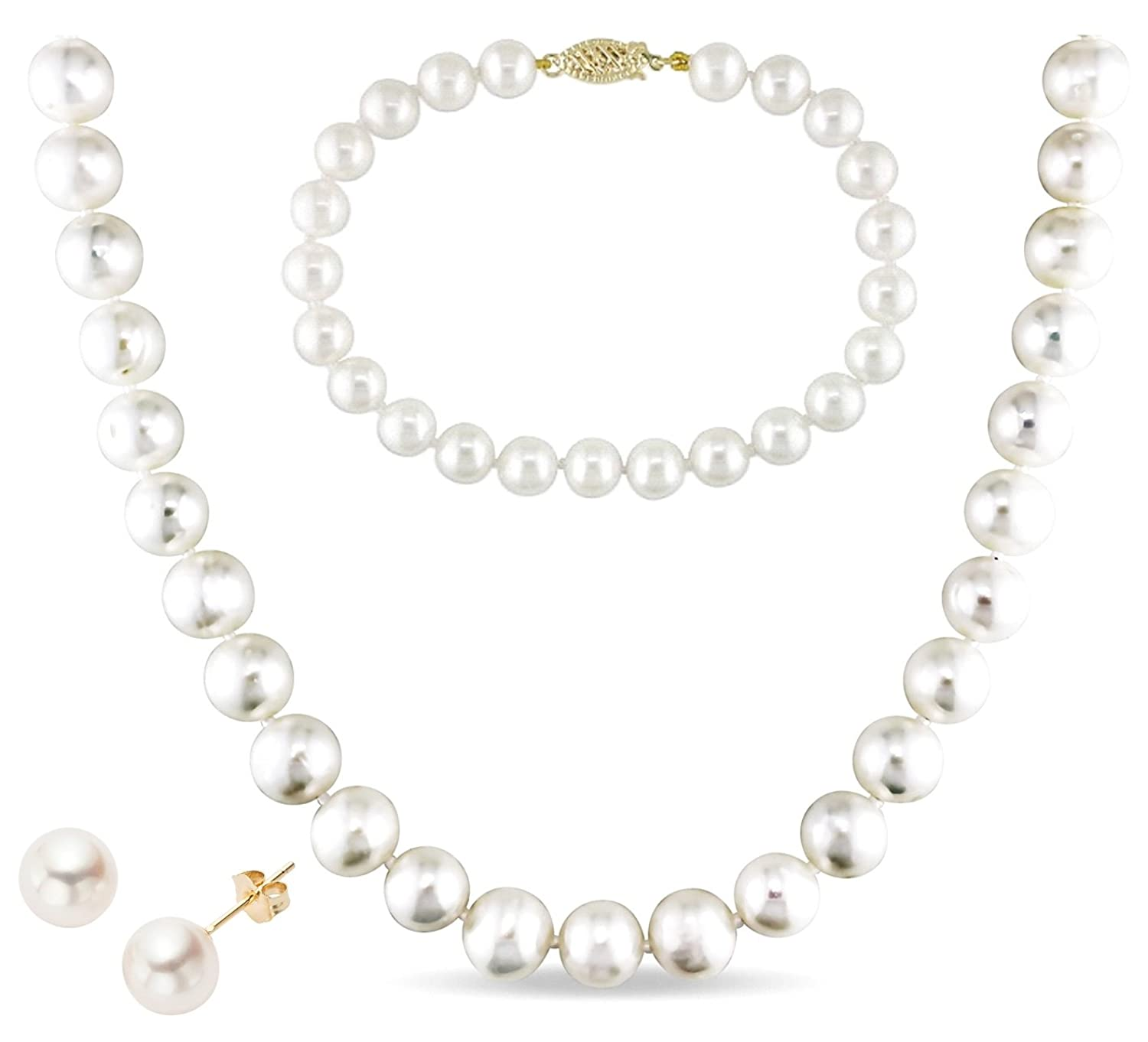 14k Gold 8-9mm White Freshwater Cultured AA-Quality Pearl Necklace, Bracelet and Earrings Set