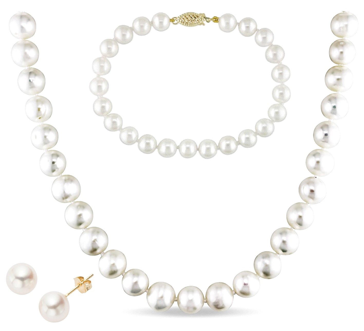 14k Gold 9-10mm White Freshwater Cultured AA-Quality Pearl Necklace, Bracelet and Earrings Set