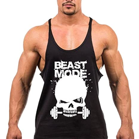 ca01f19a2210b Amazon.com  Chen Mens Skull Print Bodybuilding Tank Tops Workout Fitness  Vest Stringer Gym Shirt  Clothing