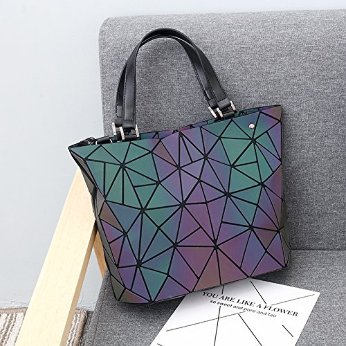 Bags Messenger with Handle Closure Geometric and Bag 1 No Satchel Holographic Women Zipper for Purse Top Luminous Handbags Oxq4Zw