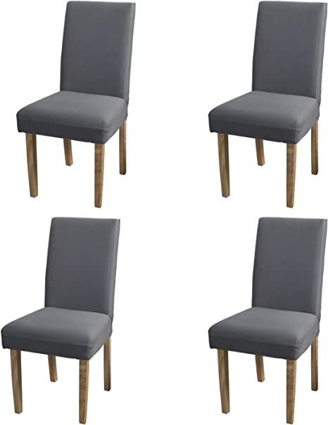 Amazon Com Yeession Dining Room Chair Covers Spandex Fabric Stretch Removable Washable Short Dining Chair Protector Cover Slipcover Set Of 4 Gray Kitchen Dining