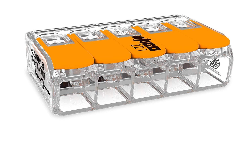 50 St/ück Wago 221-413 Verbindungsklemme 3 Leiter mit Bet/ätigungshebel 0,2-4 qmm kleine Bauform transparent