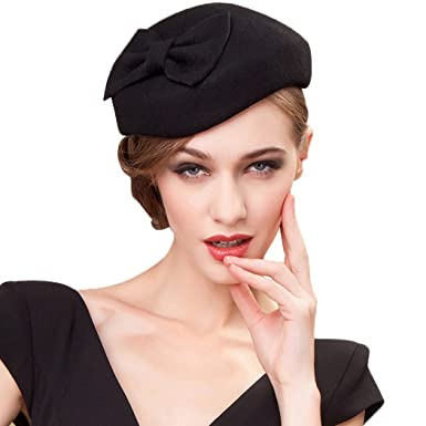 f8fe817a40274 Womens Fascinator Wool Black Pillbox Hats Elegant Felt Bow Cocktail Party  Fedora  Amazon.co.uk  Clothing