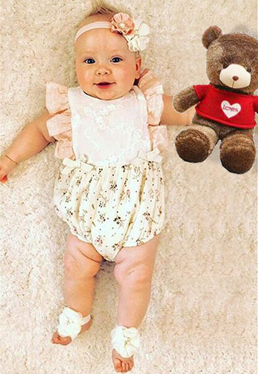 Kids Newborn Infant Baby Girls Jumpsuit Romper Outfits Floral Print Buttons Ruffles Bodysuit Summer Clothes Set