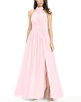 LOVEONLY Womens A-Line Sleeveless Halter Neck Bridesmaid Dress Chiffon Pleated Floor Length Formal Prom