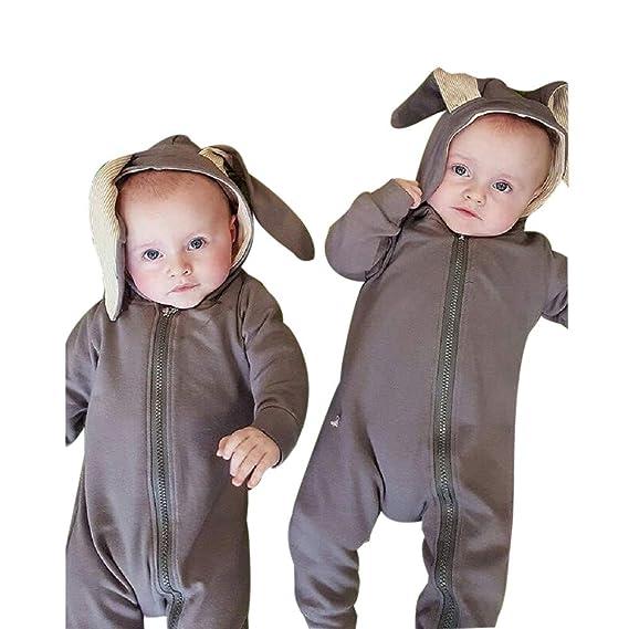 Feixiang La Ropa de los niños bebé recién Nacido niño Conejo 3D Traje  cálido Mono de 835d1910336d