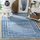 Safavieh Adirondack Collection ADR110D Silver and Blue Vintage Distressed Square Area Rug (4' Square)