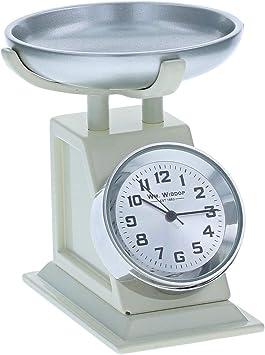 Miniatura de cocina, báscula de pesaje color crema, adorno para coleccionistas, reloj 9711: Amazon.es