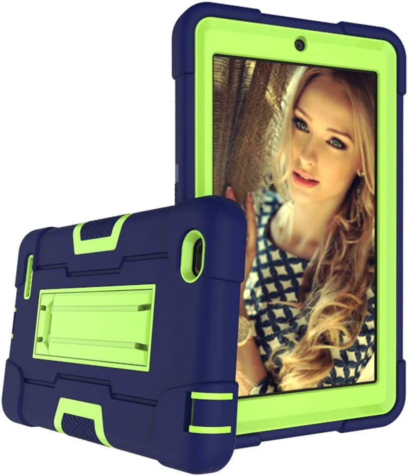 Cherrry Case for Walmart Onn 7 Inch Tablet, Heavy-Duty Drop-Proof and Shock-Resistant Rugged Hybrid case(with Built-in Stand), for Walmart Onn Android Tablet 7 Inch(100005206) Case (Navy/Green)