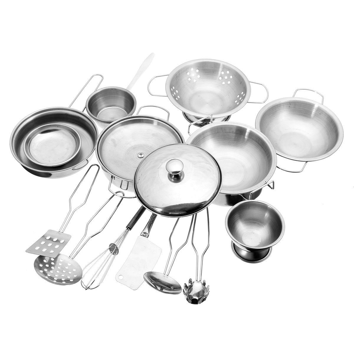 New 16PCS Stainless Steel Pan Pot Dish Kitchenware Kitchen Unit Toy Kids Role Play Toys By Letbo LetBG