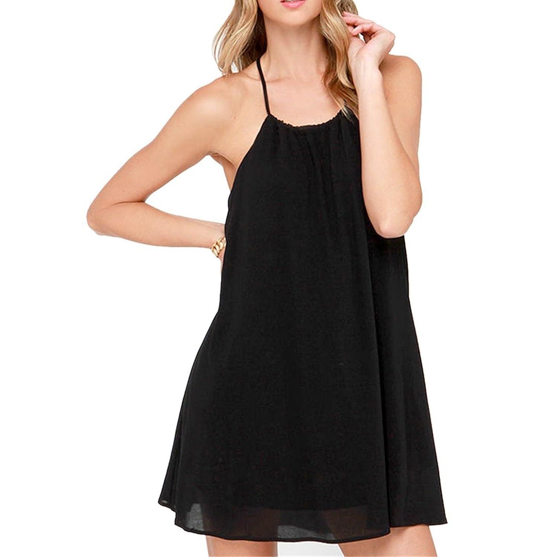 Der reizvollen Frauen schwarze AErmellose Top mit Nacken Backless Kragen gefaltetes A-Line Kleid