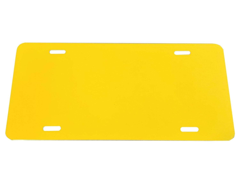 - 12x6 1mm Partsapiens Corp Caution Yellow Anodized Aluminum License Plate Blank Heavy Gauge .040