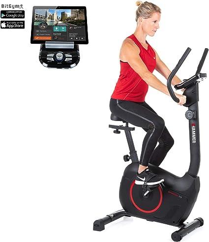 Hammer Cardio T3 - Bicicleta estática de baja resistencia, especialmente silenciosa, sillín cómodo, adecuada como bicicleta estática para personas mayores, soporte para tablet, 90 x 46 x 137 cm: Amazon.es: Deportes y aire libre