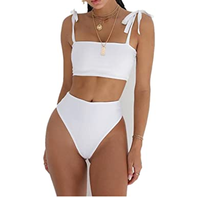 6dcf5ece74 POachers Maillot de Bain Femme 2 Piece Taille Haute Push Up Rembourre  Bandeau Bikini Sexy Bandage