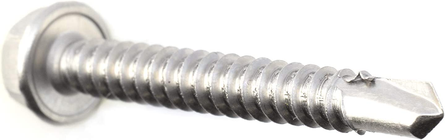 #12 Size - Self Tapping Screw - Self Drilling Screw - 410 Stainless Steel Screws = Exceptional Wear and Very Corrosion Resistant 25mm 100pcs 1 Length - Hex Washer Head THE CIMPLE CO