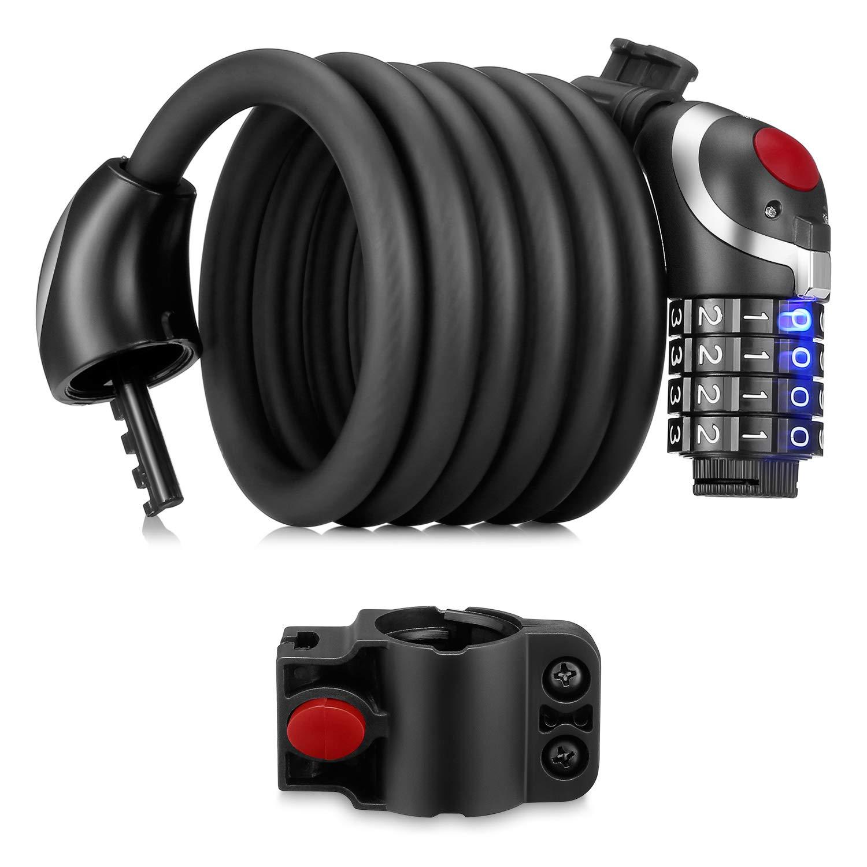 SKM Bicycle Lock Combination Lock 180cm / 12cm with 4-Digit-Zefffern and LEDs Night Light (Black)
