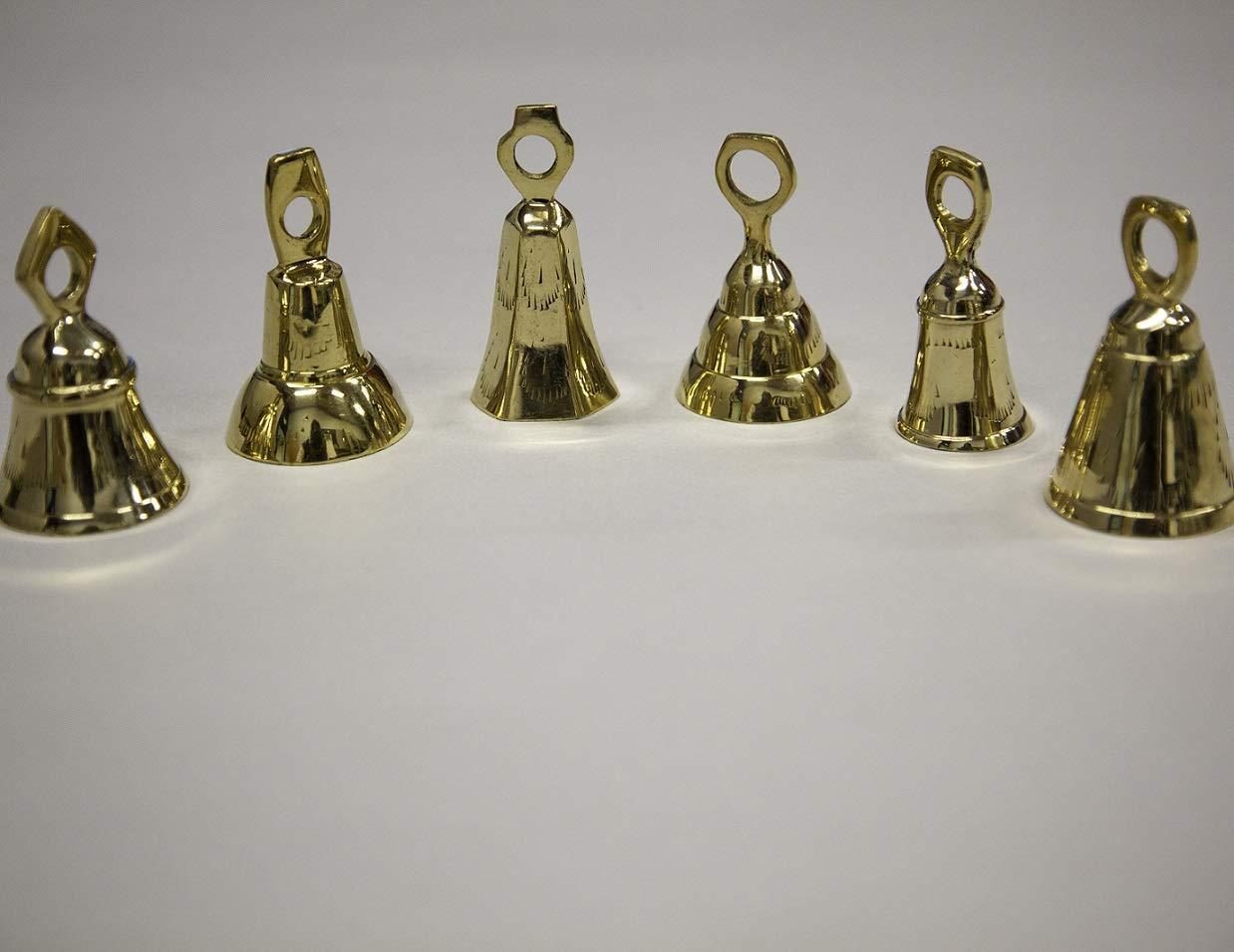 Arts Of Creation 3''- Assorted Brass Bells Vintage Bronze Jingle Bells One Dozen For Dog Doorbell Temple Bell Wedding gift christmas gift temple decor musical instrument sound diwali Decoration