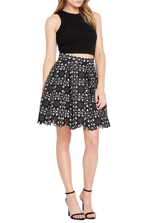 20447f366c15 Poshsquare Womens Fashion Trendy Mesh Applique Pleated Circle Flower Skirt