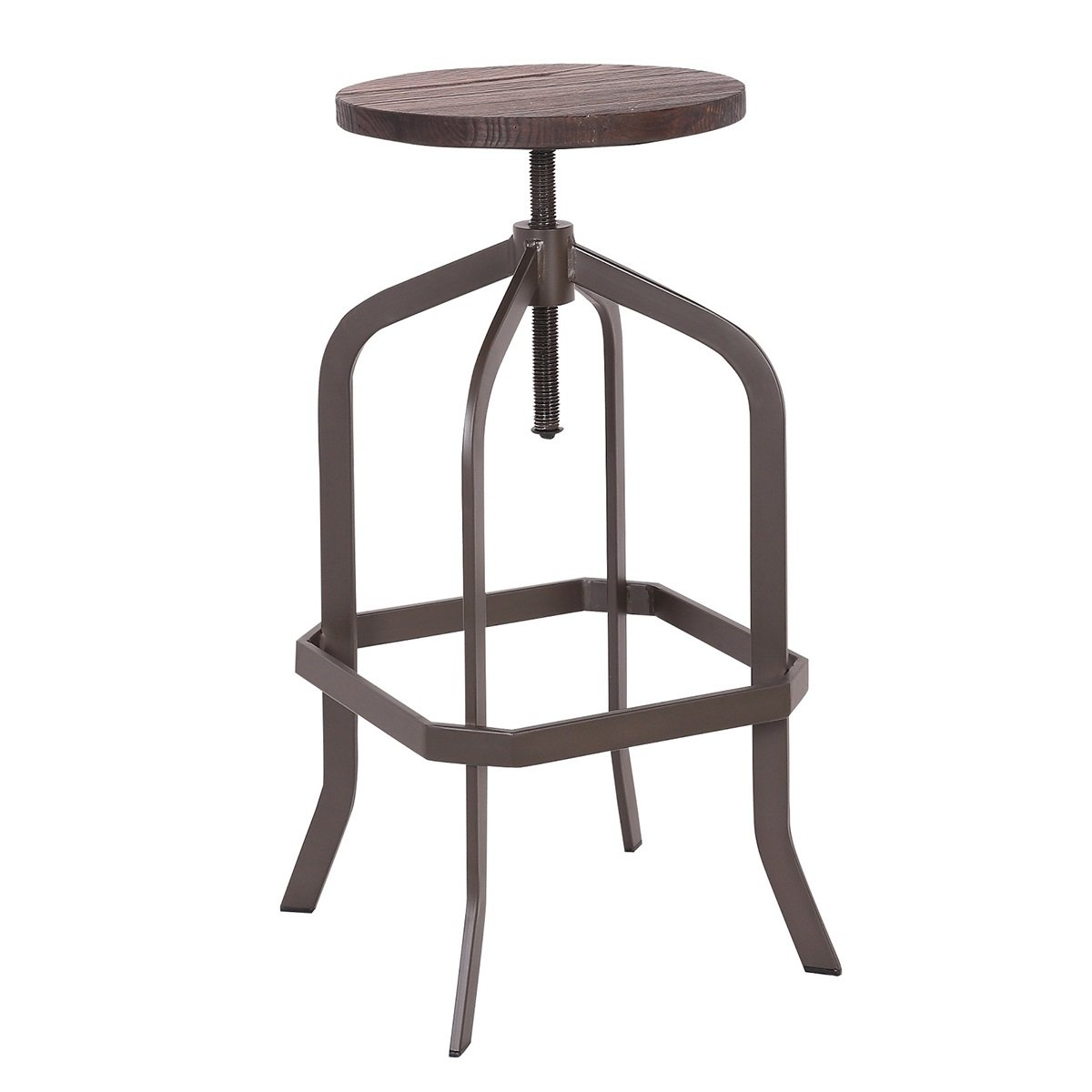 Bronte Living Swivel Adjustable Bar and Counter Metal Stool with Elm Wood Seat and Backless Industrial Style - 1 Unit Bronte Import Corp