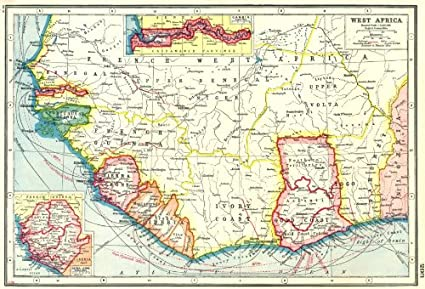 Map Of Africa French.Amazon Com West Africa French Gold Coast Ghana Inset Gambia