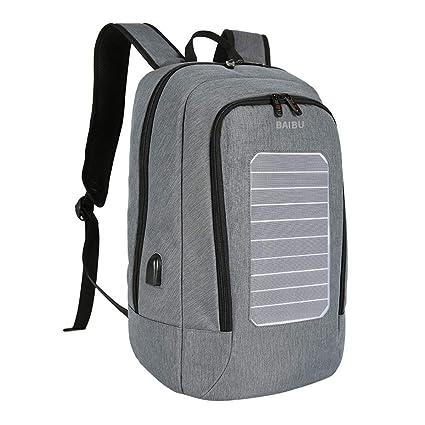 Panel Solar Mochila Hombre USB de Carga Anti-Theft 15.6 Pulgadas Mochilas para portátiles para