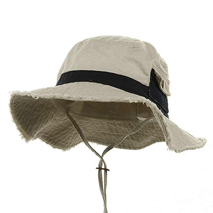 6bb4cd832f4 Image Unavailable. Image not available for. Color  Washed Frayed Bucket Hats -Putty Navy M