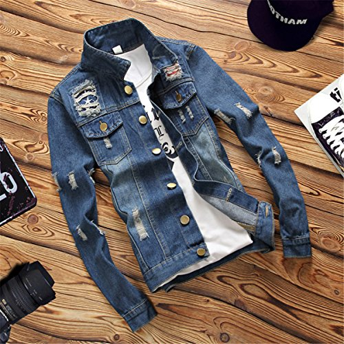 Jeans Giacche Summer Jacket Hole Spring Mens Blue Denim Cotton Profitd Cappotti Uomo Clothes EBq0wq5R