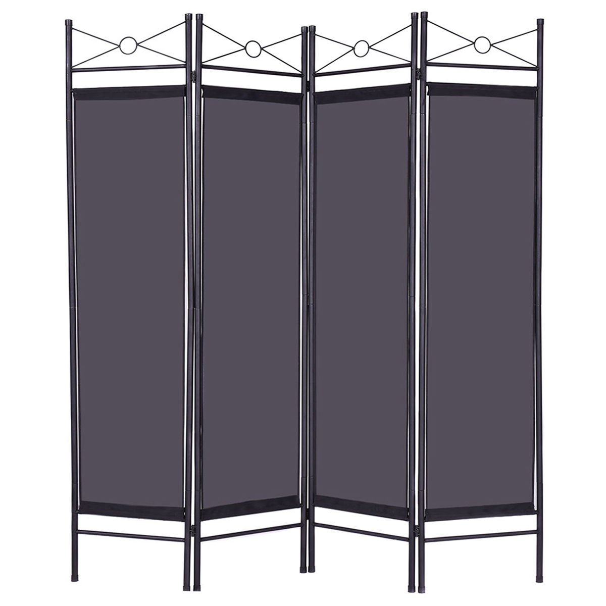 Black 4 Panel Room Divider Privacy Screen Home Office Fabric Metal Frame + FREE E - Book