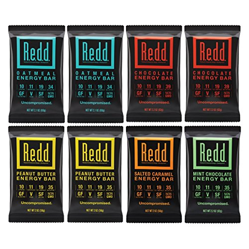 Redd Gluten Free Vegan Superfood Energy Bar Variety Pack  8 Count  Packaging May Vary