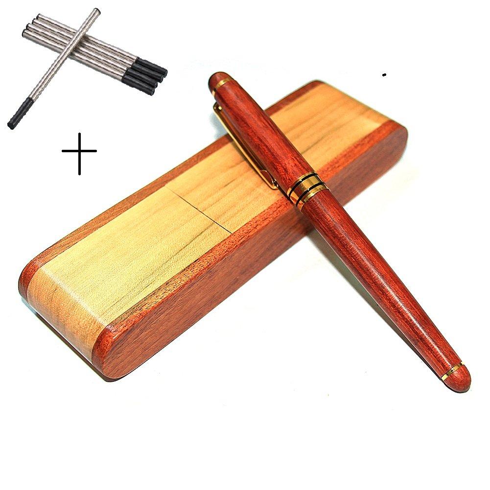 5 Refills Farsler ECO-Friendly Creative Gel Pen Lead pPen Full Wooden Ballpoint Pen Black 5 Refill Set With Nice Wooden Box Business Gifts New Year Gift 5 Refills