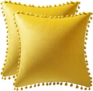 DEZENE Couch Pillow Covers 16x16 Yellow: 2 Pack Cozy Soft Pom-poms Velvet Square Throw Pillow Cases for Farmhouse Home Decor