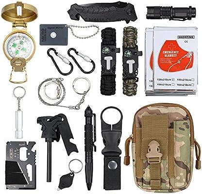 18 en 1 Kit de Supervivencia Bolsa Molle de Supervivencia Bolsa de ...
