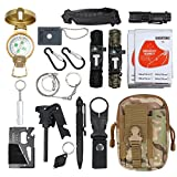 CAMWAY 18 in 1 Emergency Survival Kit with Tactical Pen Survival Knife Tactical Flashlight Fire Starter Whistle Paracord Bracelets Survival Tools for Travelling Hiking