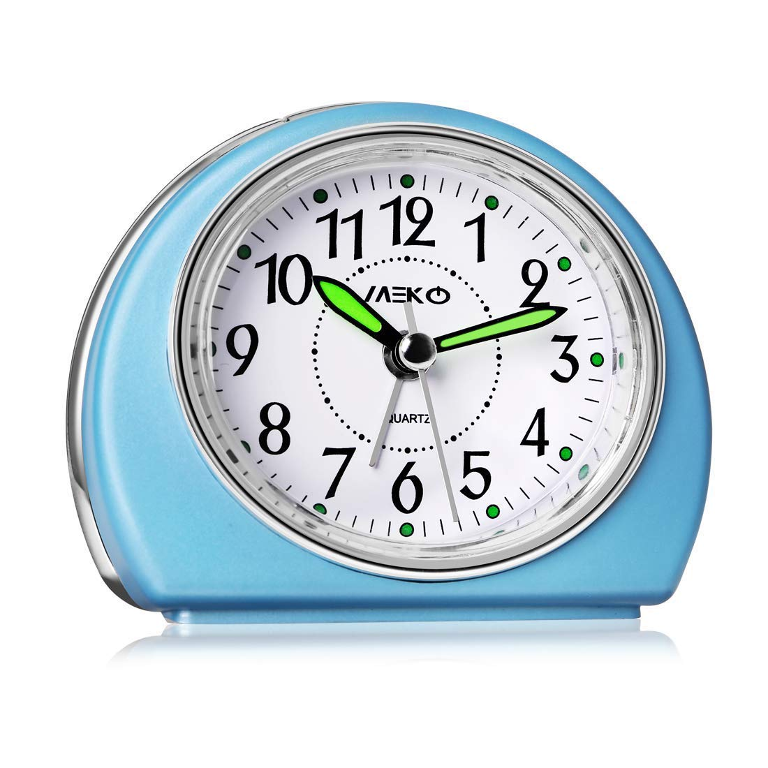 Alarm Clocks Non-Ticking for Bedrooms, MEKO Smart Tickless AA Battery Powered Travel Alarm Clock with Snooze and Nightlight, Silent No Ticking Bedside Clock(Blue)