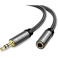 Audio Cable Extensión 3M, Victeck Nylon Trenzado Jack Audio Estéreo 3,5 mm Macho a Hembra Cable de extensión para teléfonos Inteligentes, Auriculares, Altavoces, Reproductores de MP3 y más (Negro)