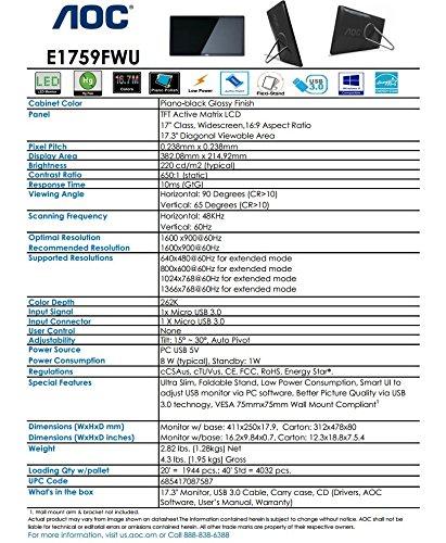 AOC e1759Fwu 17-Inch Ultra Slim 1600x900 Res, 220cd/m2 Brightness USB 3.0-Powered Portable LED Monitor w/ Case by AOC (Image #6)