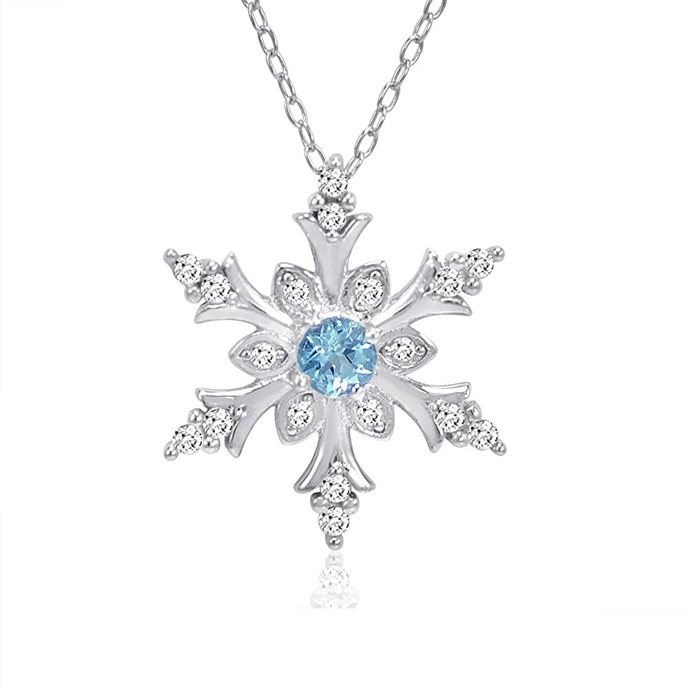 Swiss Blue and White Topaz Snowflake Pendant-Necklace in Sterling Silver (1/2ct tgw) Amanda Rose Collection HACN12966ZSWISSBT