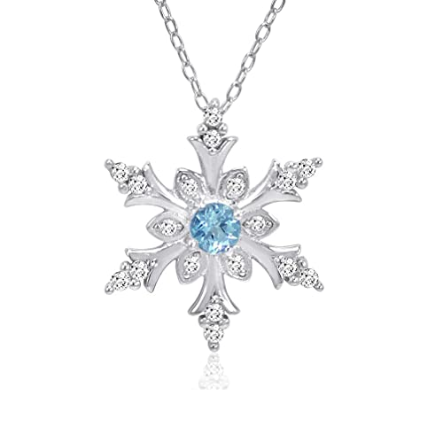 d14810d5cd5a64 Swiss Blue and White Topaz Snowflake Pendant-Necklace in Sterling Silver  (1/2ct tgw): Amazon.ca: Jewelry
