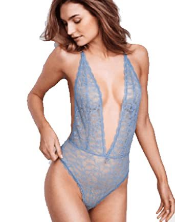 c786dad34a5fc Victoria's Secret Sexy Floral Boho Lace Bodysuit Teddy Sky Blue Size Large  at Amazon Women's Clothing store: