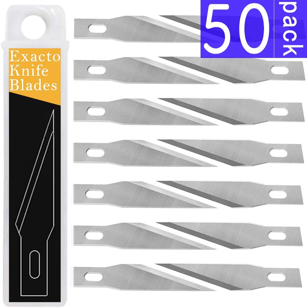 50 PCS Exacto Knife Blades, High Carbon Steel #11 Refill Exacto Art Blades Cutting Tool with Storage Case for Craft, Hobby, Scrapbooking, Stencil