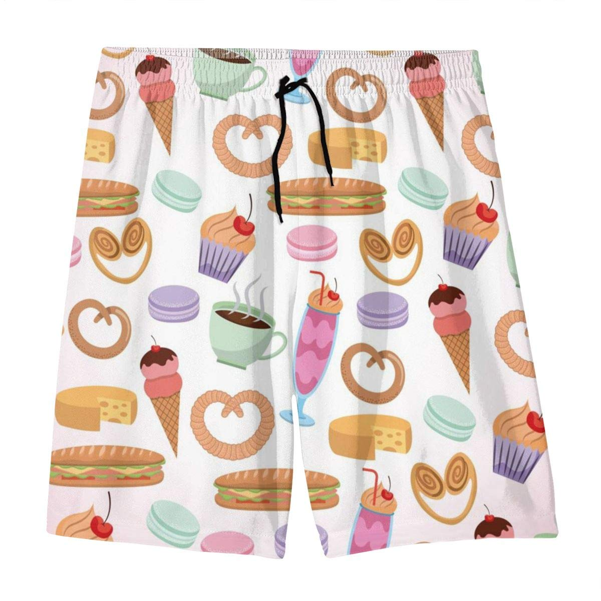 Mens Swim Trunks France Paris Printed Beach Board Shorts with Pockets Cool Novelty Bathing Suits for Teen Boys