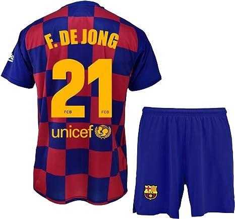 Conjunto Camiseta y pantalón 1ª equipación FC. Barcelona 2019-20 - Replica Oficial con Licencia - Dorsal 21 DE Jong - Niño Talla 12: Amazon.es: Deportes y aire libre
