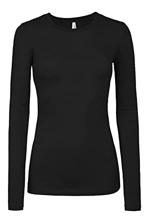 c8543f51a5d LE3NO Womens Lightweight Fitted Long Sleeve Round Neck Cotton Shirt with  Stretch  Amazon.co.uk  Clothing