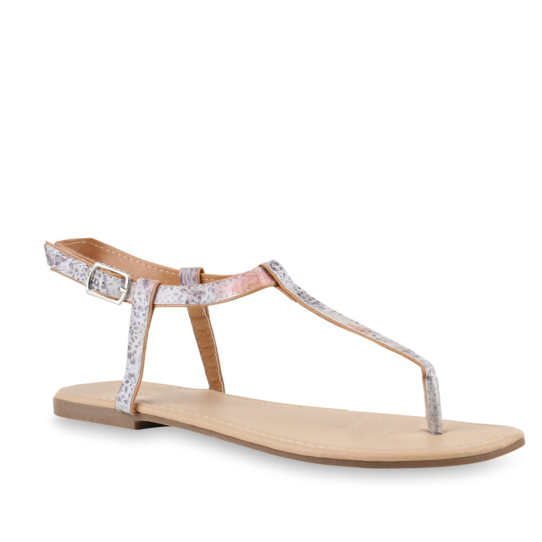 Stiefelparadies Damen Sandalen Zehentrenner mit Blockabsatz Flandell  36 EU|Braun Leopard