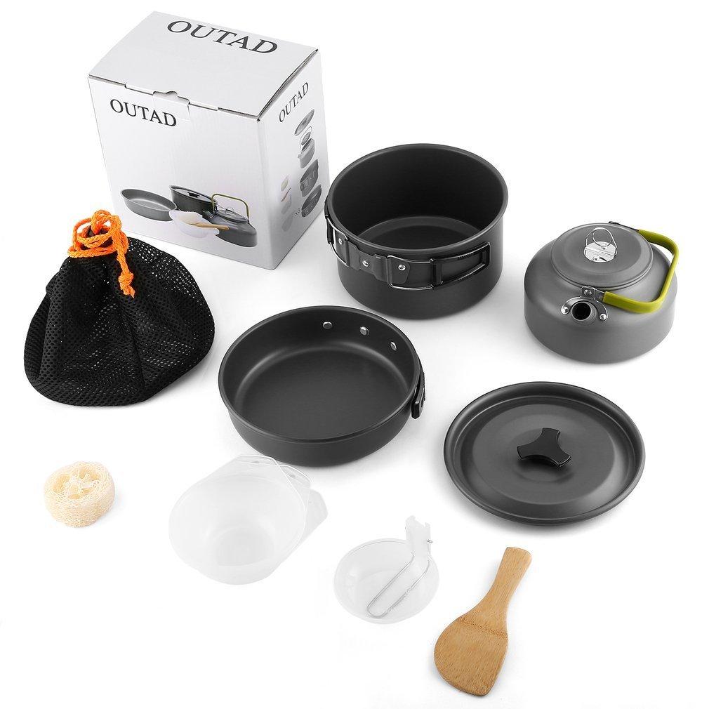 Jiobapiongxin Juego de Utensilios de Cocina para Camping Mini Juego de ollas y sartenes para OUTAD para 2-3 Personas: Amazon.es: Deportes y aire libre