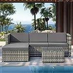 ModernLuxe Garden Rattan Furniture Corner Lounge Set