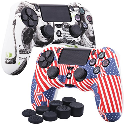 YoRHa Water Transfer Printing Camouflage Silicone Cover Skin Case for Sony PS4/slim/Pro Dualshock 4 controller x 2(US flag+US dollar) With Pro thumb grips x 8