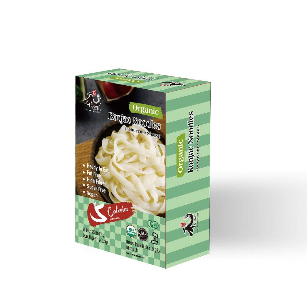 YUHO Organic Shirataki Konjac Pasta 8 Pack Inside, Vegan, Low Calorie Food, Gluten Free, Fat Free, Keto Friendly, Zero Carbs, Healthy Diet Pasta 53.61 Oz, 8 fettuccine